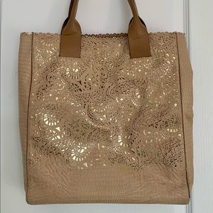 BCBG Gold Lace Tote